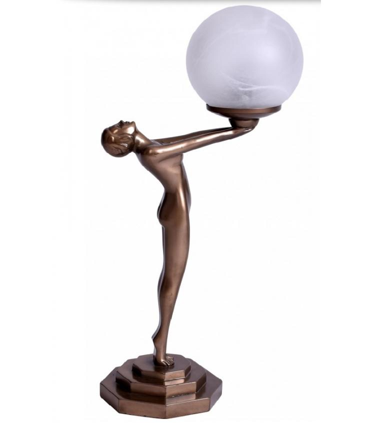 Secesní figurální lampička s dívkou nesoucí světlo