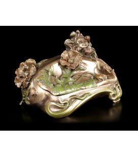 Secesní šperkovnice s dívkou a květy