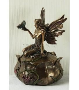 Šperkovnice s vílou a motýlkem ve stylu secese