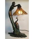 Figurální lampička - dívka s pávem
