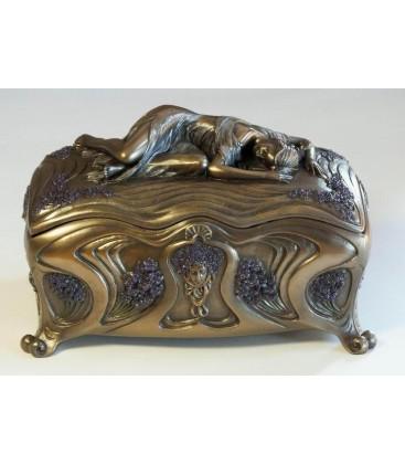 Secesní šperkovnice - truhlice se spící dívkou