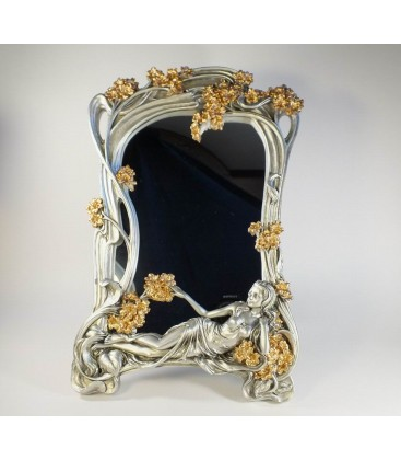 Secesní stříbrné zrcadlo