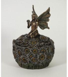 Secesní šperkovnice s květinami a vílou